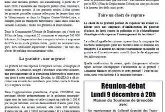 Réunion publique - débat sur la gratuité des transports publics à Grenoble